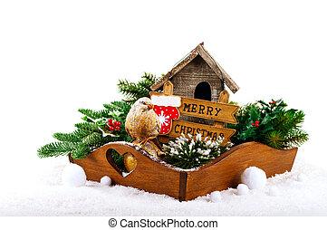Christmas decorations: bird, birdhouse and fir tree