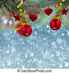 christmas decorations border on snow background - christmas ...