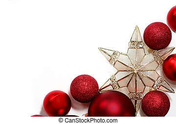Red Christmas Decorations And Star Border Gold Background Stock