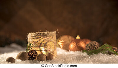 Christmas decorations. Candle with golden spheres