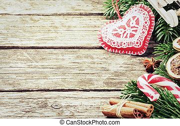 Christmas decorations - Christmas border with festive ...