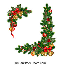 christmas decorations - Christmas decorations with fir tree...