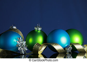 Christmas decorations - Christmas ornaments and gold ribbon ...