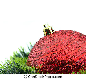 Christmas decorations - Christmas red ball and tinsel close ...