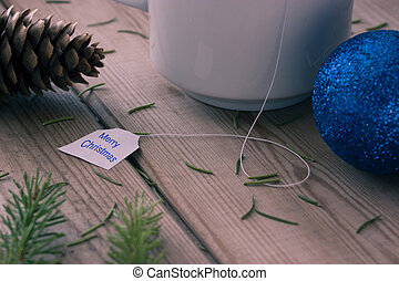 decorations, Christmas tree branches and cup of coffee