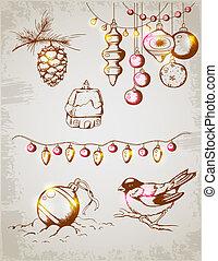 Christmas decorations - Hand drawn vector vintage Christmas...
