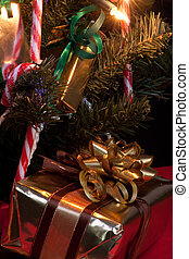 Christmas Decorations - Close up view of Artificial ...