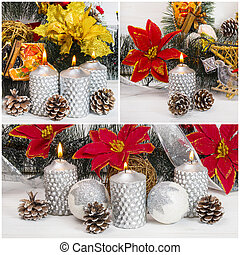 Burning silver candles with pine cones and balls on Christmas Time.