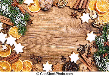 Christmas decorations cookies spices. Holidays sweet food