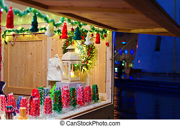 Christmas decorations displayed for sale