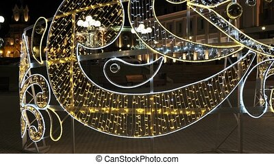 Christmas decorations. festive garlands at night. Celebration, New Year mood