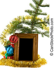 christmas decorations, gifts and photo