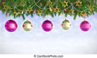 Christmas Decorations Hanging and Rotating From Twigs- 3D render. Seamless loop