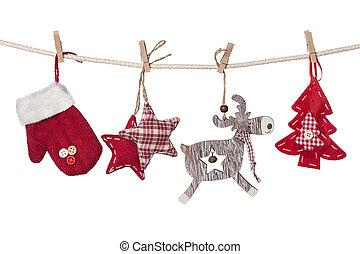 Christmas decorations hanging