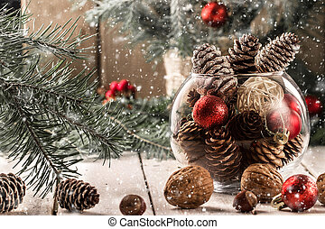 Christmas decorations in a glass vase. Christmas Card
