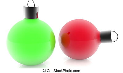 Christmas decorations in green and red colors