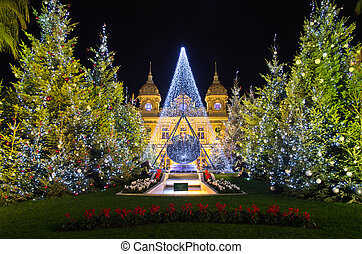 Christmas decorations in Monaco, Montecarlo, France - ...