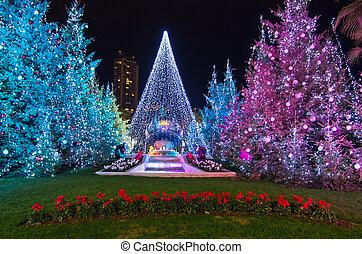 Christmas decorations in Monaco, Montecarlo,France -...