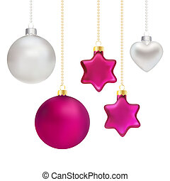 Christmas decorations in silver and magenta - Vector...
