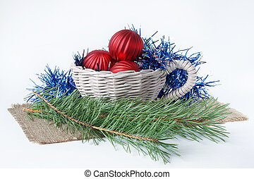 Christmas decorations isolated on a white background.
