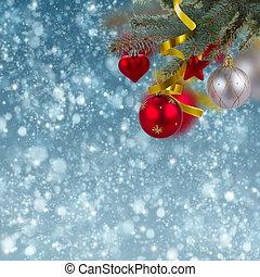 christmas decorations jn snow background
