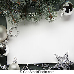 Christmas decorations (live tree, balls, star)