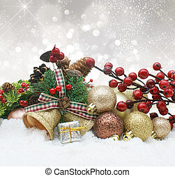 Christmas decorations nestled in snow