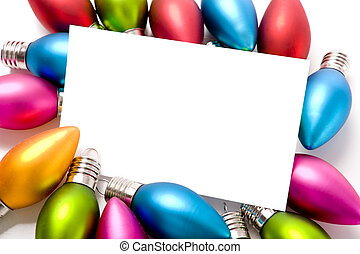 Christmas Decorations Notecard - A blank notecard surronded ...