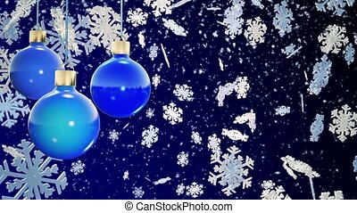 Christmas decorations on a blue