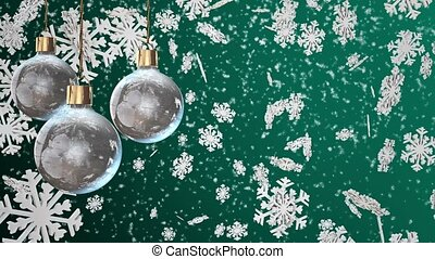 Christmas decorations on a cyan
