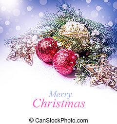 Christmas decorations on a fir tree