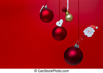 Christmas decorations on a red background. Holiday season concept