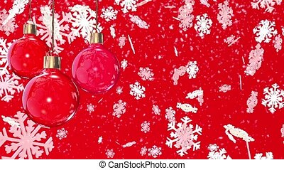 Christmas decorations on a red