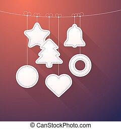 Christmas decorations on a thread