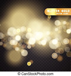 Christmas decorations on a transparent background. Light effect. light blur effect vector premium background. Luxury sparkles defocused glitter with sparkling golden glowing texture and bokeh glow