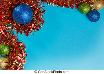 Christmas decorations on blue background with copy space. ...