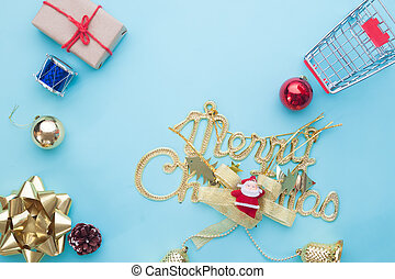 Christmas decorations on blue color background, View from above