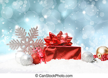 Christmas decorations on blue glittery background - Glittery...
