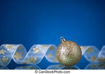 Christmas decorations on blue - Christmas tree decorations...