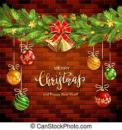 Christmas Decorations on Brick Wall Background with Golden Bells and Balls