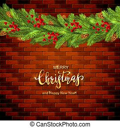 Christmas Decorations on Brick Wall Background with Holly Berries