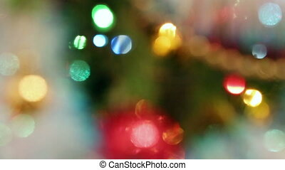 christmas decorations on fir closeup - rack focus