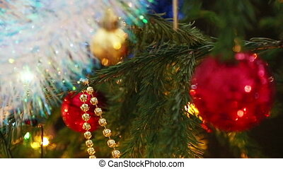 christmas decorations on fir closeup