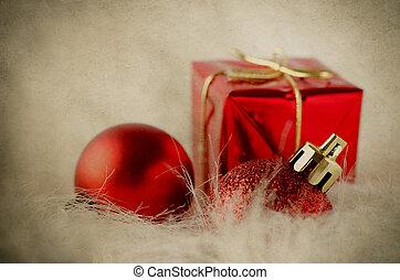 Christmas Decorations on Fur - Vintage