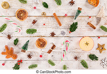 Christmas decorations on old wooden background. Top-down...