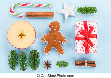 Christmas decorations on pastel color background. Top-down...