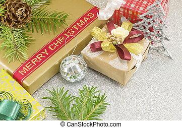 Christmas decorations on shiny background