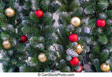 Christmas decorations on spruce tree