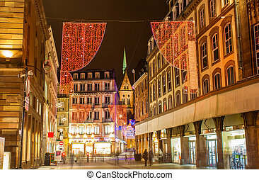 Christmas decorations on streets of Strasbourg. Alsace, France