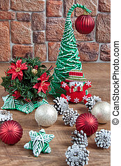 Christmas decorations on the background of a stone wall.